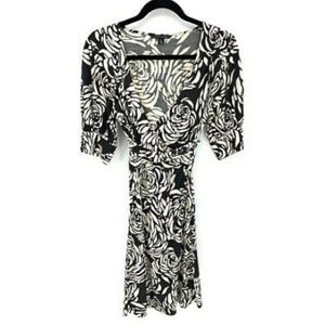 Banana Republic Floral Button Sleeve Wrap Dress